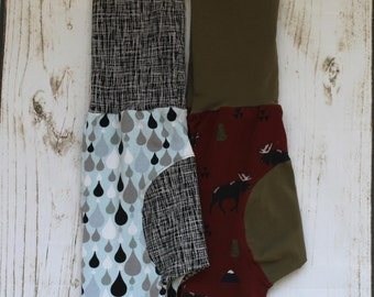 Grow with me Pants, Maxaloones, cloth diaper pants, bum circle, stretch baby pants, woodland, moose, trees, rain drops, lines, sketch