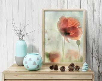 Watercolor prints Poppy wall art Red wall decor Living room pastel Flowers wall gallery PRINTABLE arts red Watercolor downloadable poppy red