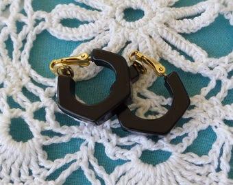Vintage Black Hexagon Hoop Clip On Earrings