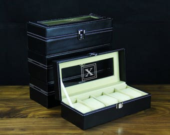 Black Personalized groomsmen gift - watch box 5 holders,  Best man gift