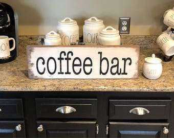 "Coffee bar sign, rustic coffee bar sign, coffee sign  25"" x 7.25"""
