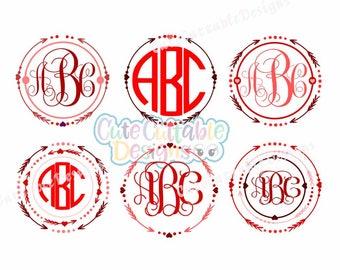 Heart Arrow Monogram Svg Files, Valentine Digital Design, Cutting files for Silhouette & Cricut Svg Dxf Eps, Png Silhouette Cuttable Frames