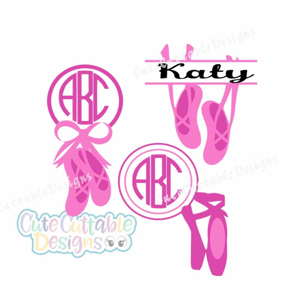 ballet svg ballerina svg monogram slippers svg file dance