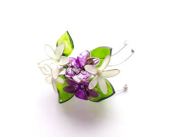 White and purple flower brooch, flower brooch, spring brooch, hand made flowers, jewellery, accessories, lapel flower, wedding