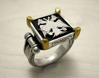 Man silver ring,Double head eagle,18k gold ring,eagle ring,bague homme,signet ring,Byzantine ring,man gold ring,chevaliere homme,bague or