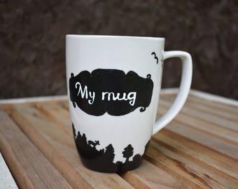 My Mug - Black and White Mug - Gift Mug, Handpainted Mug, Landscape Mug, Gift for Nature Lovers, Farmhouse Style, Country Life, Rustic Mug