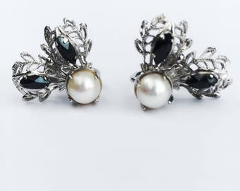 Vintage genuine pearl earrings, Sorrento sterling silver earrings, delicate silver filigree earrings, bridal earrings, pearl and Hemetite