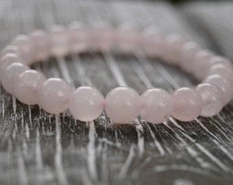 ROSE QUARTZ Bracelet, Heart Chakra Bracelet, Beaded Bracelet, 8mm, Gift for Her