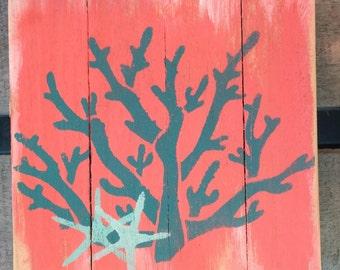 Coral Pallet Art, Marine wood art, Coral hanging art, Coastal Decor, Coastal patio art