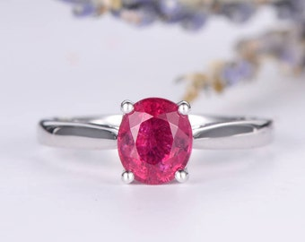 Pink Tourmaline Engagement Ring White Gold Solitaire Single Anniversary Birthstone Wedding Bridal Oval Cut Simple Minimalist Women Ring
