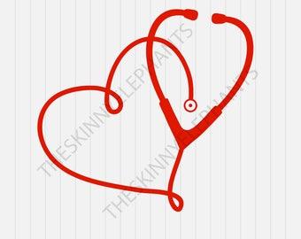 stethoscope Heart Svg - Nurse Svg - INSTANT DOWNLOAD - 1-Dxf, Eps, Pdf, Png, Svg - Cricut - Silhouette