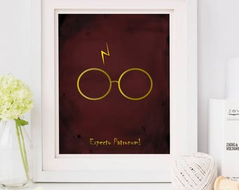 Expecto Patronum, Harry Potter Glasses, Harry Potter Quotes, Harry Potter Print, Harry Potter Spells, Harry Potter Wall Art, Office Decor