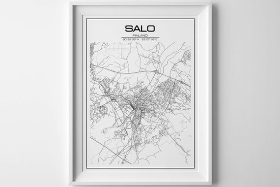 Salo map city Salo map print city map Salo poster Salo map