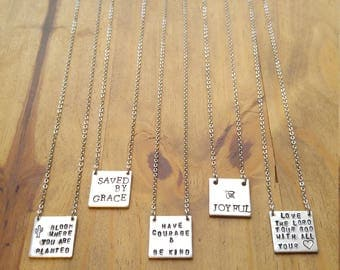 Personalized Square Tab Necklace, Aluminum and Stainless Steel