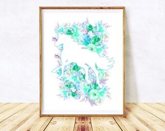 Unicorn Printable Unicorn, Unicorn Printables, Unicorn Decor, Blue Nursery, Printable Wall Art, Instant Download Printable Art Floral Prints