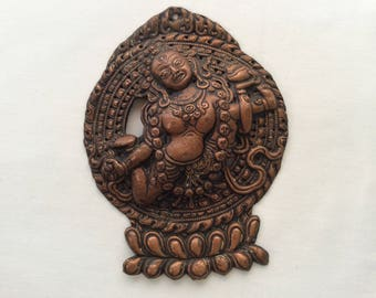 Vintage Himalayan Hindu Goddess Copper Plate from Nepal