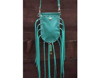Green leather fringed medicine bag, festival bag, leather fringed small pouch, tassel mini handbag, green belt pouch, small boho hippie bag