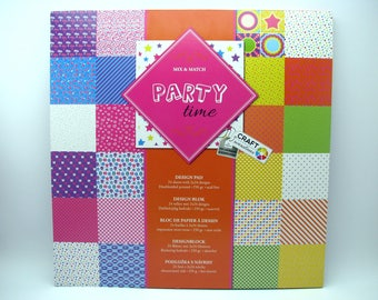 Party time - design pad - 2x24 assorted designs - 24 sheets - 250g - acid free - doublesided printed