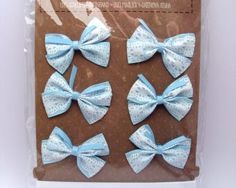 Bow and satin ribbons - blue - lace - white