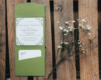 Green pocketfold wedding invitation / Greenery wedding invitation / Floral invitation / Floral details / Green metallic paper
