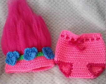 Troll, Crochet Newborn Poppy Troll Hat and Diaper Cover,  Costume, Photo Prop, Troll Hat