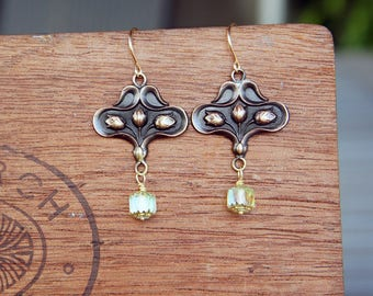 Art Nouveau Floral Earrings with Luminous Canary Yellow Glass Bead Drops French Brass French Findings Stampings