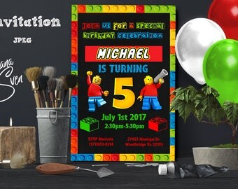 Lego invitation -Lego Party-Lego Birthday Invitation-Lego Movie Invitation-Boy invitation-Digital file