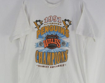 Vintage 90s Pittsburgh Penguins Stanley Cup Finals 1991 T Shirt Size XL Hockey NHL