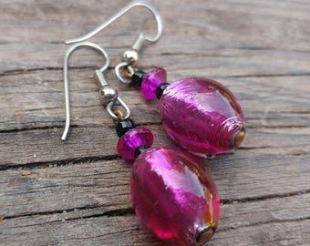 Vintage Purple Dichroic Glass Earrings // 80s Art Glass Dangle Earrings