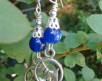 Schnauzer Errings with Blue Glass