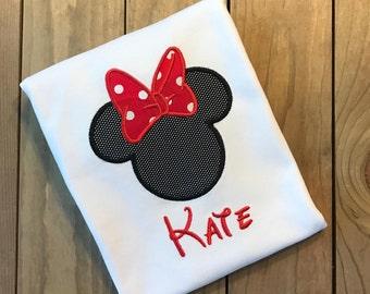 Disney shirt, Disney applique shirt, Minnie Mouse shirt, Personalized Minnie Mouse shirt, Appliqued Minnie Mouse shirt, Monogrammed Disney