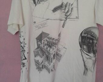 Vintage MC Escher T-Shirt All-over Print Size M/L