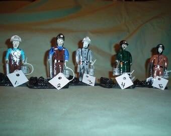 Wooden Coal Miner Figurines