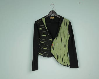 madame zaza of marseille vintage asymmetric cardigan green and black buttoned up sweater long sleeve cardigan thin unique style