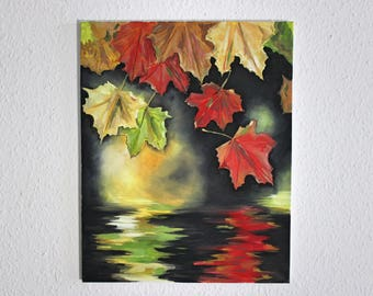 Oil Painting on Canvas - Expressive Leaves Painting, Fall Time/Autumn Contemporary Painting, Reflection Art