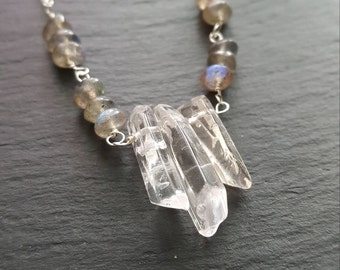 Quartz crystal and Labradorite sterling silver necklace