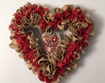 Be Mine- ruffelled burlap valentine wreath