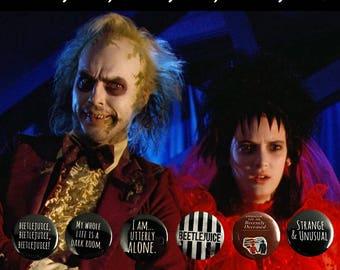 """Beetlejuice 1"""" Pinback Buttons -- Lydia Deets, Tim Burton"""