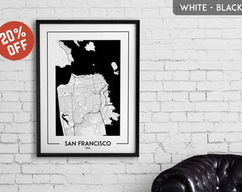 SAN FRANCISCO map print, San Francisco poster, San Francisco wall art, San Francisco city map, San Francisco map decor, San Francisco gift