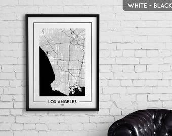 LOS ANGELES map digital download, Los Angeles poster, Los Angeles wall art, Los Angeles city map, Los Angeles map decor, Los Angeles gift
