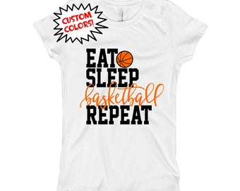 Girls Basketball Shirt - Basketball Baby Outfit Bodysuit - Eat Sleep Basketball Repeat Shirt Bodysuit - Custom School Colors - For Girls