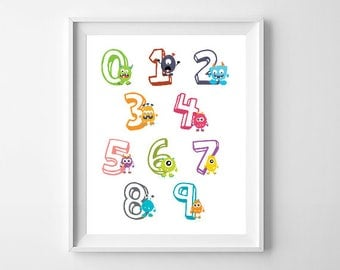 Little Monsters Print / Numbers Nursery Print / 123 Prints / Monster Nursery Wall Art / Boys Nursery Monsters Decor / Homeschool Prints