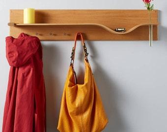 Curved Oak Shelf With Hooks