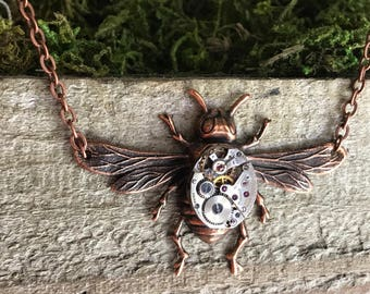 Bee Necklace | Steampunk Necklace | Watch Movement Necklace | Steampunk Wedding Jewelry | Vintage, Unique Anniversary Gift For Her Bumblebee