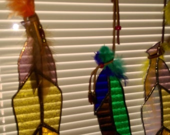Handcrafted Stained Glass feather suncatcher