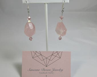 The Brooke- Rose Quartz and Pink Crystal Dangle Earrings