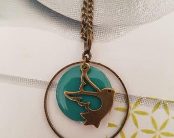 turquoise blue bird necklace