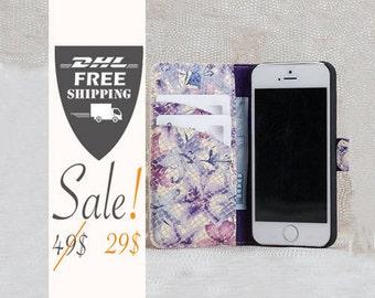 SALE wallet  iPhone SE case, iPhone 6/6S case, iPhone 6 Plus Case, Flower case, Leather iPhone SE, unique iPhone case, fashion iPhone case