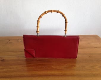 Pouch/purse - red leather and bamboo handle - vintage