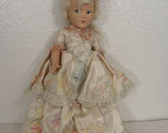 Vintage Doll Articulated Ceramic or Clay, Fully Dress Collectibles 11""